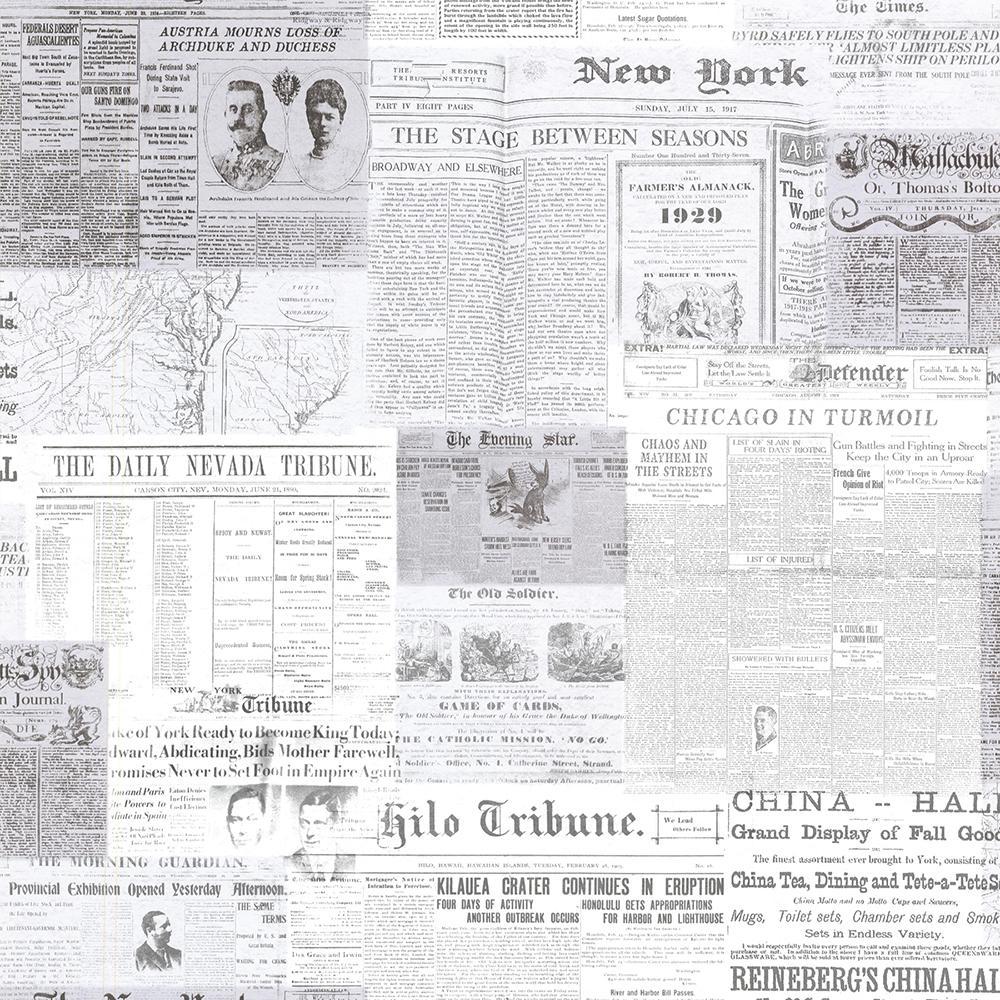 Gazette Grey Vintage Newsprint Wallpaper Sample