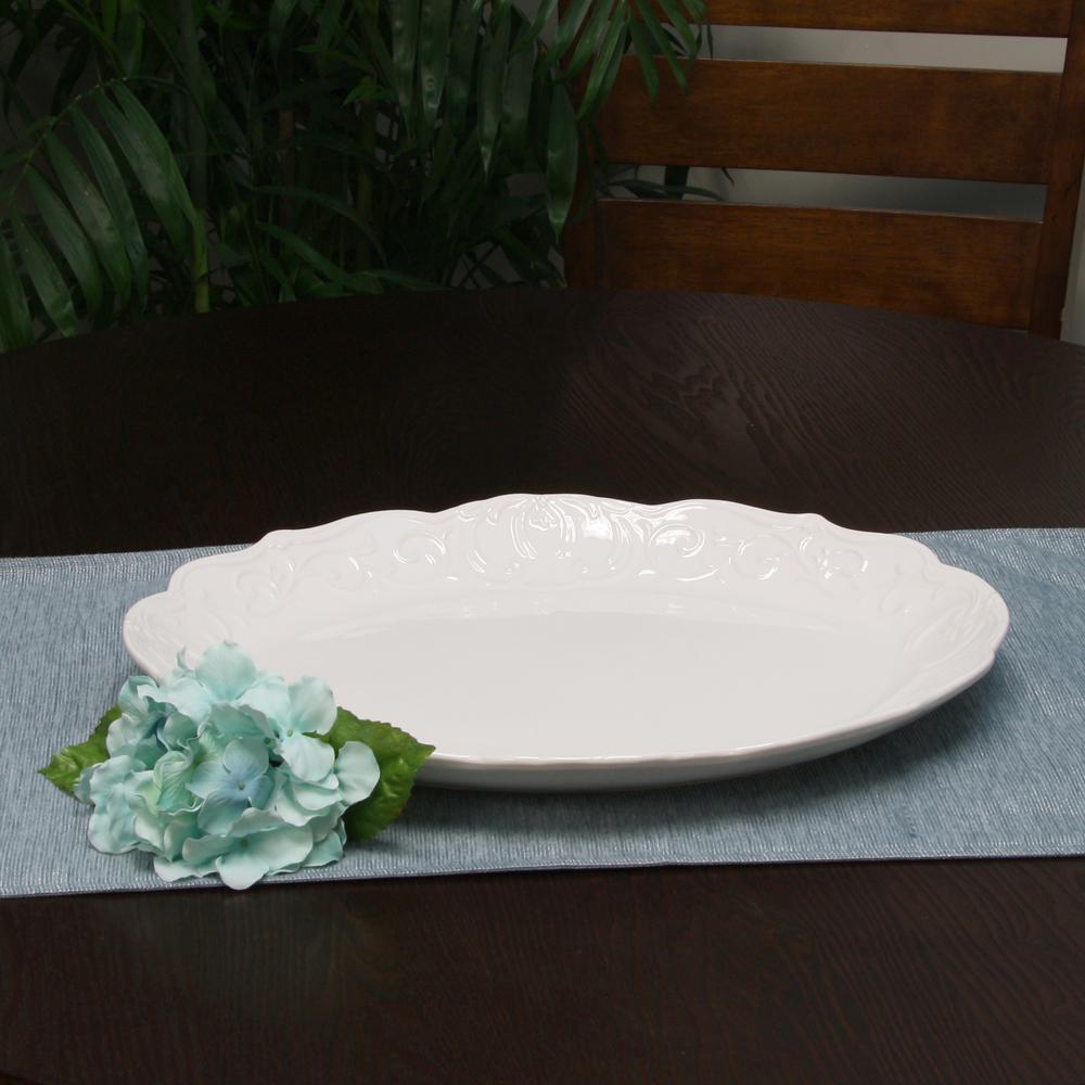 Royal Abbey White Durastone Oval Embossed Platter