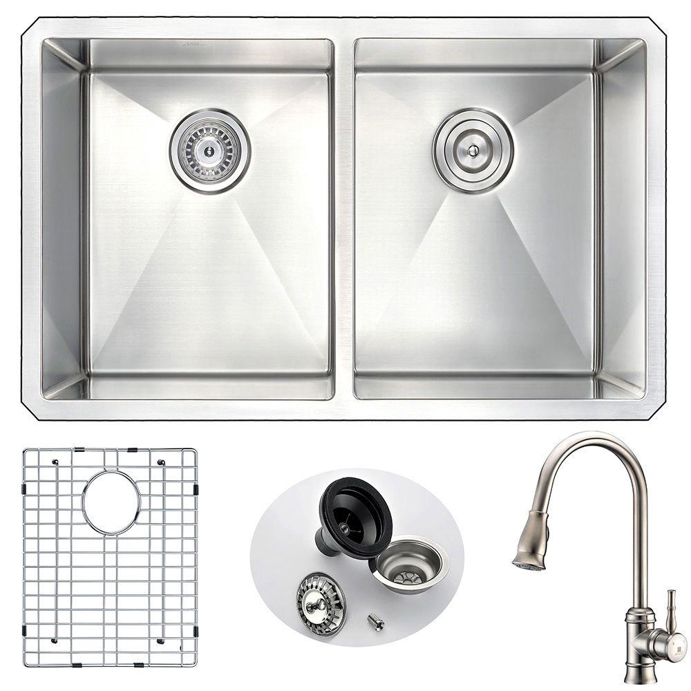 Anzzi Vanguard Undermount Stainless Steel 32 In Double Bowl Kitchen