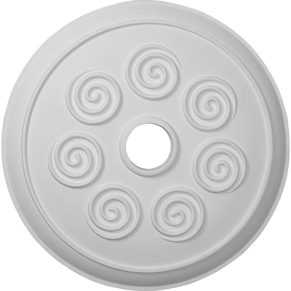 2 in. x 25-1/4 in. x 25-1/4 in. Polyurethane Spiral Ceiling Medallion