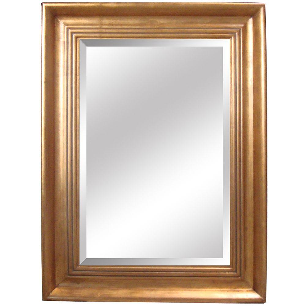 Yosemite Home Decor 35.5 in. x 47 in. Rectangular Decorative Antique Gold Wood Framed Mirror