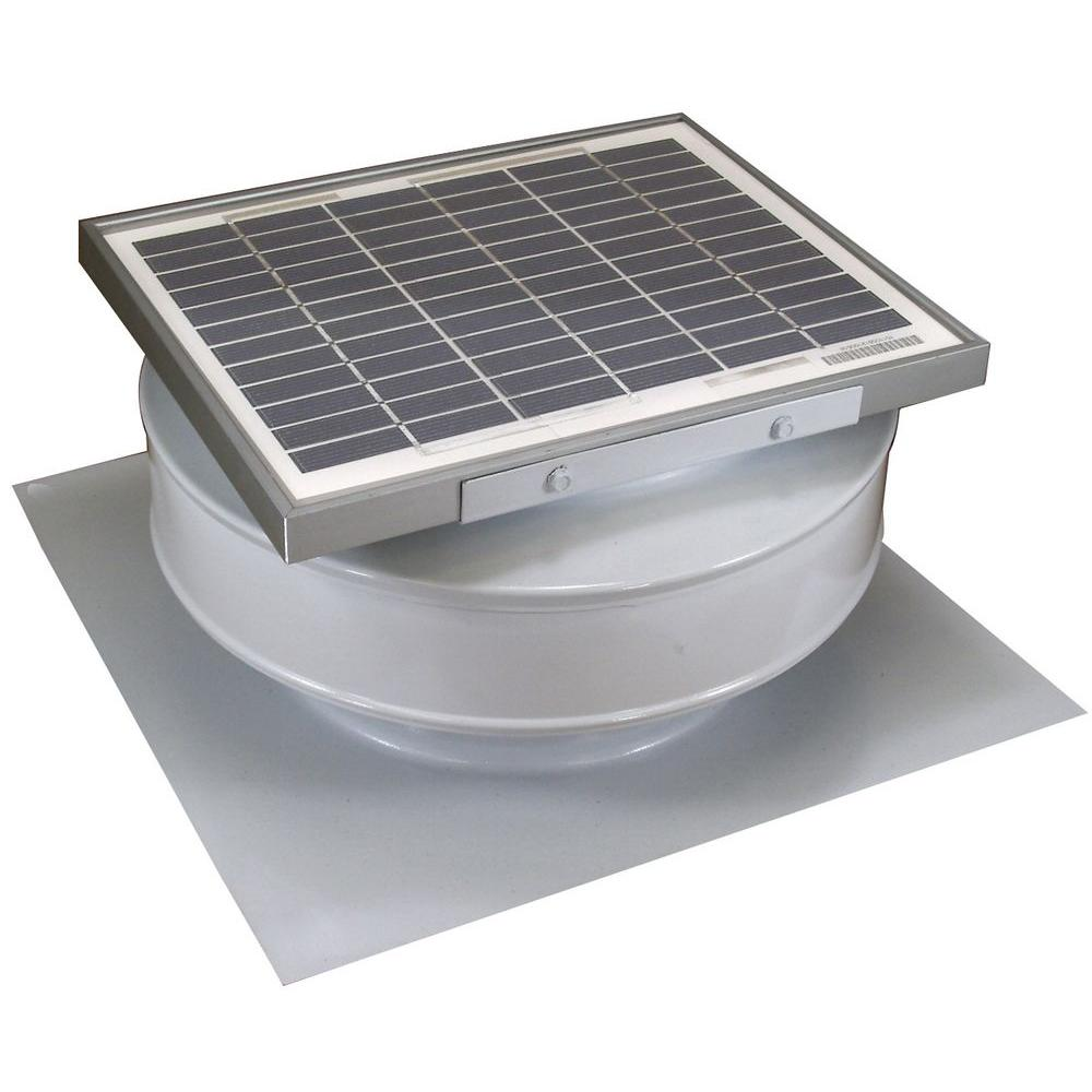 Active Ventilation 365 CFM White Powder Coated 5-Watt Solar Powered Roof Mounted Exhaust Attic Fan