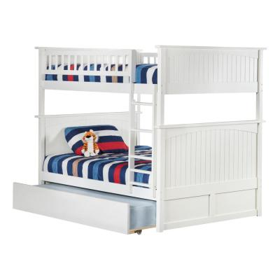 Nantucket Bunk Bed Full over Full with Twin Size Urban Trundle Bed in White