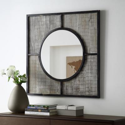 Small Square Rustic Wood/Black Antiqued Modern Mirror (1 in. H x 32 in. W)
