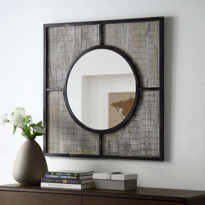 32 in. Transitional Modern Farmhouse Square Metal and Wood Frame Wall Mirror
