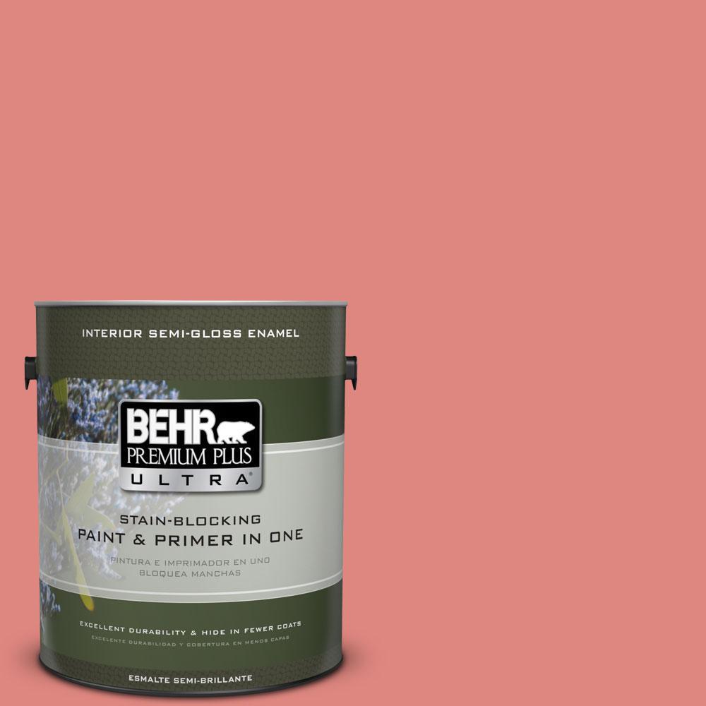 BEHR Premium Plus Ultra 1-gal. #PPU1-4 Wild Watermelon Semi-Gloss Enamel Interior Paint