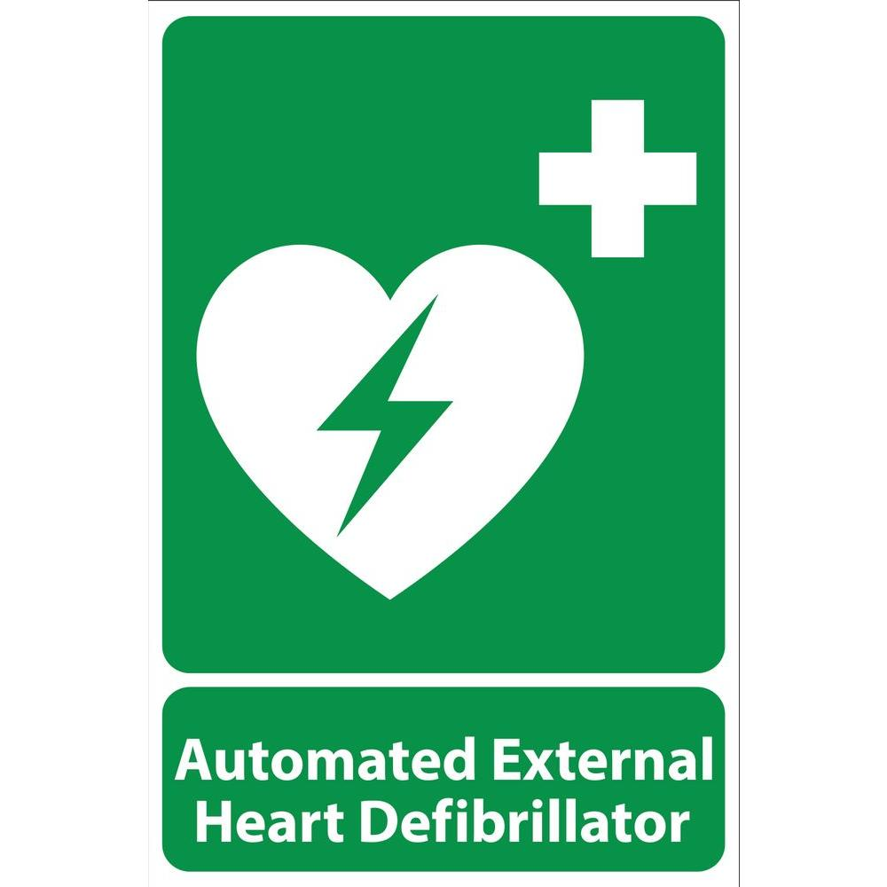 12 in. x 8 in. Plastic Green Automated External Heart Defribillator