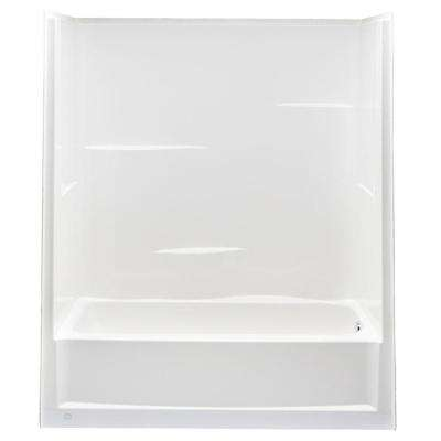 Everyday 60 in. x 30 in. x 72 in. 1-Piece Bath and Shower Kit with Right Drain in White