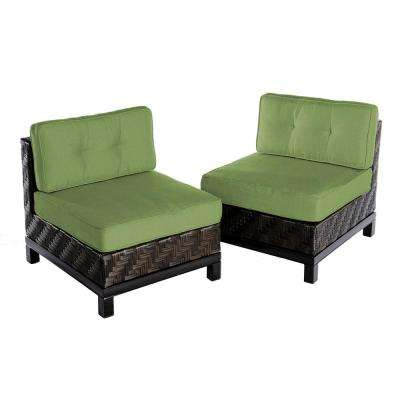 Rachel 2-Piece Wicker Patio Seating Set with Spectrum-Cilantro Cushions