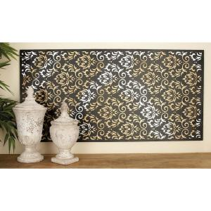 24 inch x 47 inch Rustic Iron and Wood Flourish and Trellis Wall Decor by
