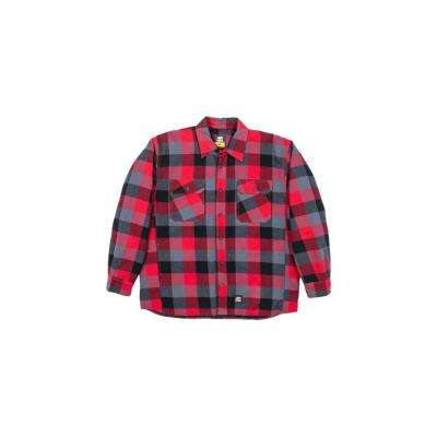 Men's Medium Tall Plaid Red 100% Cotton Yarn-Dyed Flannel Shirt