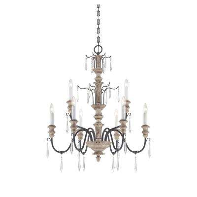 Satin 9 Light Ceiling Cream Wood and Iron Incandecent Chandelier