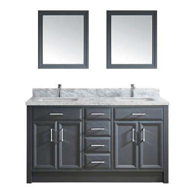 Calais 63 in. W x 22 in. D Vanity in Pepper Gray with Marble Vanity Top in Gray with White Basin and Mirror