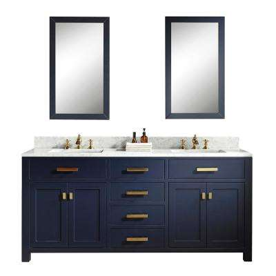 Madison 72 in. Bath Vanity in Monarch Blue with Carrara White Marble Vanity Top with Ceramics White Basins and Faucet