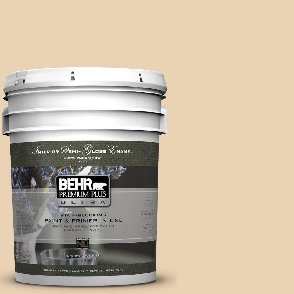 BEHR Premium Plus Ultra 5-gal. #S300-2 Powdered Gold Semi-Gloss Enamel Interior Paint