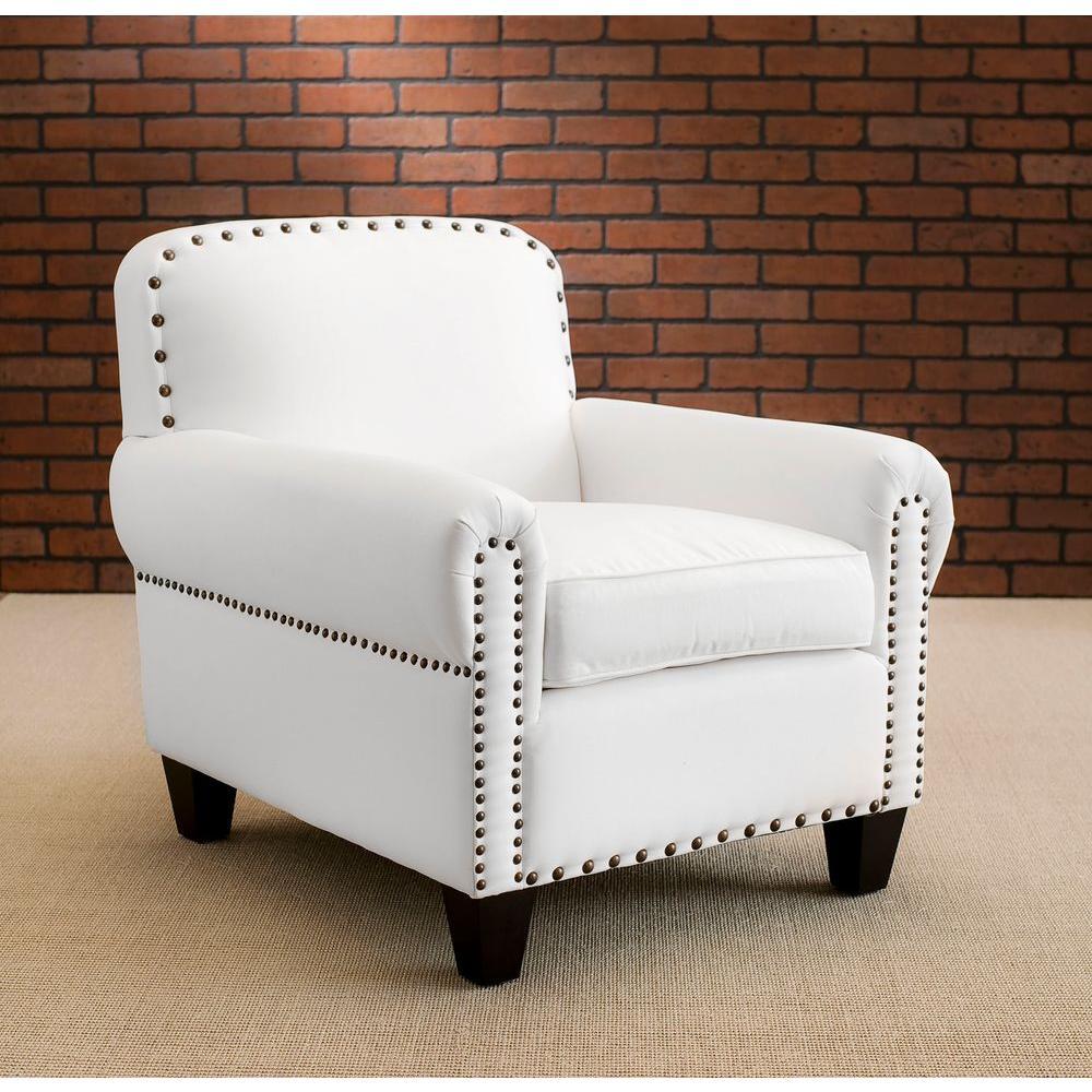 Abigail White Cotton Club Arm Chair