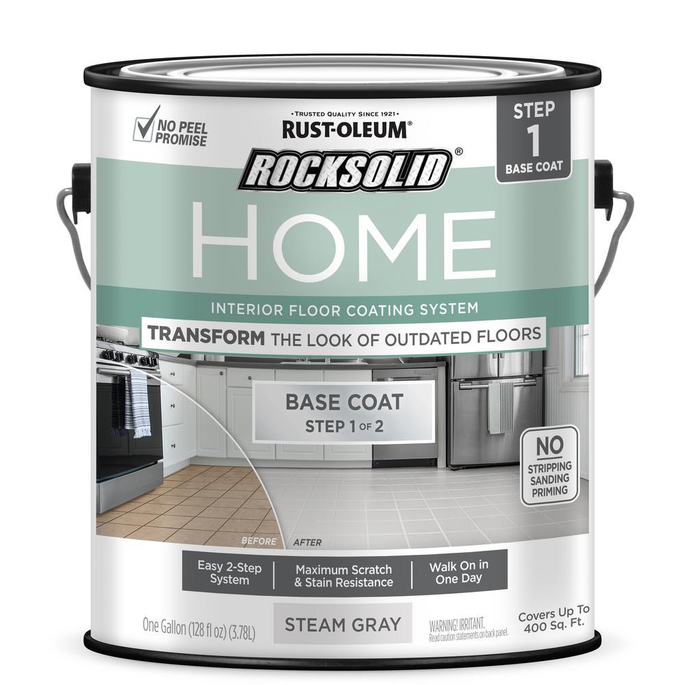 Rust-Oleum RockSolid Rust-Oleum RockSolid Home 1 gal. Steam Gray Interior Floor Base Coating (2-Pack)