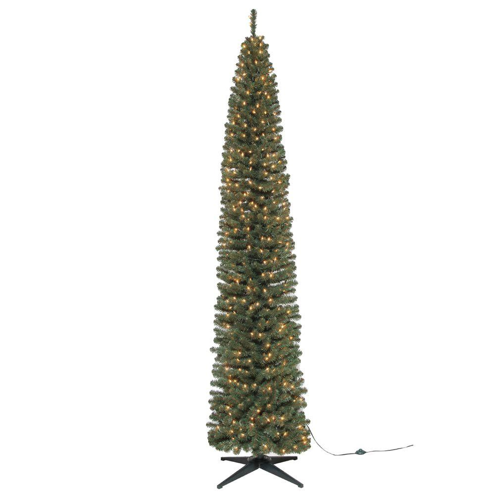 9 Ft Brighton Pencil Artificial Christmas Tree With 500 Clear  - Artificial Christmas Tree 9 Ft