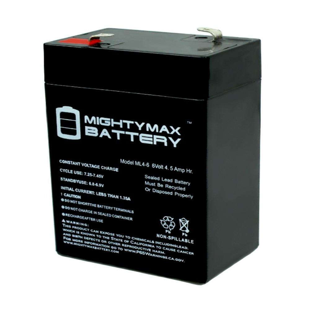 MIGHTY MAX BATTERY 6 -Volt 4.5 Ah Rechargeable F1 Terminal Sealed Lead Acid (SLA) Battery