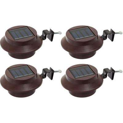 Solar Powered Integrated LED Brown Roof Gutter Path Light (4-Pack)