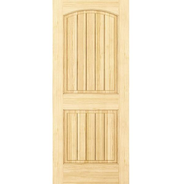 30 in. x 80 in. Unfinished 2 Panel Arch Top V-Groove Solid Core Pine Interior Door Slab