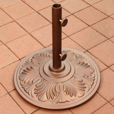 50 lb. Art Deco Aluminum Patio Umbrella Base in Bronze