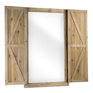 Crystal Art Gallery Shuttered Wall Mirror With Rustic Wooden