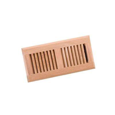 4 in. x 10 in. Wood White Oak Unfinished Surface Mount Register