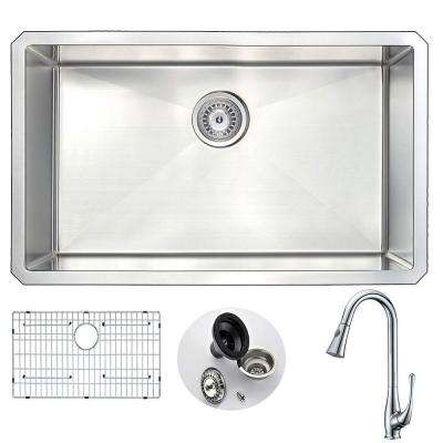 VANGUARD Undermount Stainless Steel 30 in. Single Bowl Kitchen Sink and Faucet Set with Singer Faucet in Brushed Satin