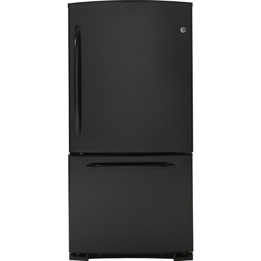 GE 33 in. W 22.7 cu. ft. Bottom Freezer Refrigerator in Black