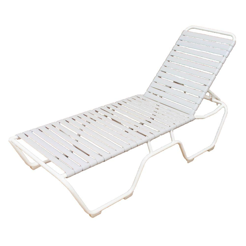 null marco island white commercial grade aluminum vinyl strap outdoor chaise lounge in white 2