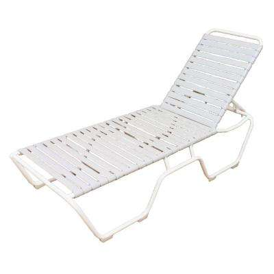 Marco Island White Commercial Grade Aluminum Vinyl Strap Outdoor Chaise Lounge in White (2-Pack)