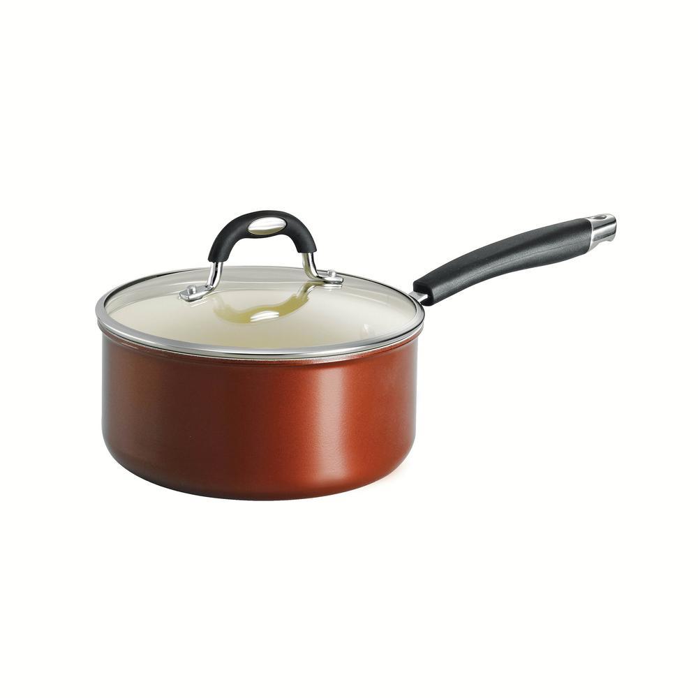 Style Ceramica 3 qt. Aluminum Ceramic Nonstick Sauce Pan in Copper with Glass Lid