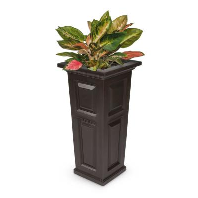 Self-Watering Nantucket Tall Espresso Polyethylene Planter