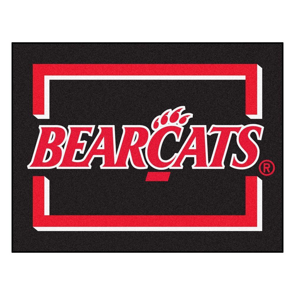 Fanmats Ncaa University Of Cincinnati Bearcats Logo Black 3 Ft X 4 Ft Area Rug 13568 The Home Depot