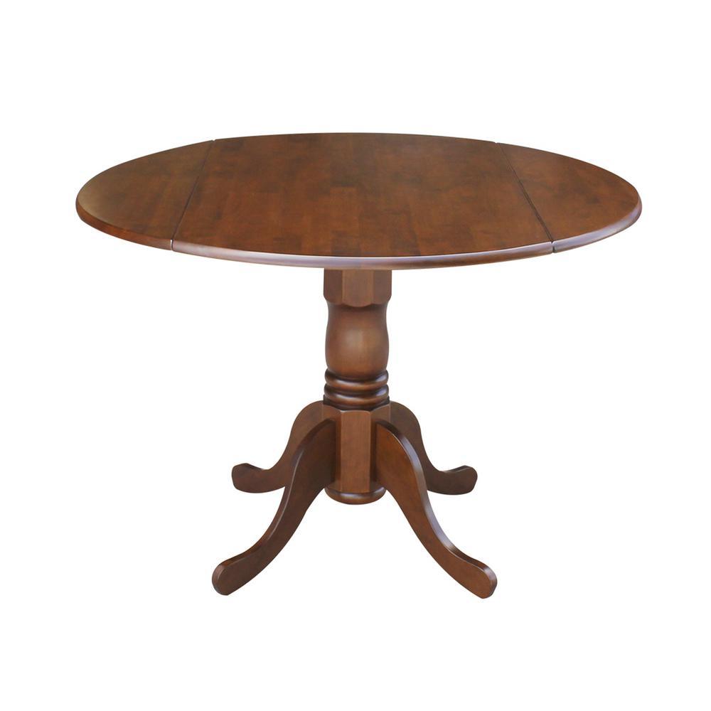 Espresso Solid Wood Dropleaf Dining Table