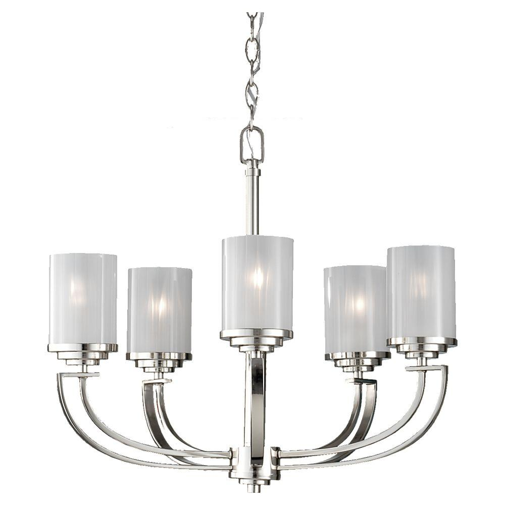 Feiss Finley 5-Light Polished Nickel 1-Tier Chandelier