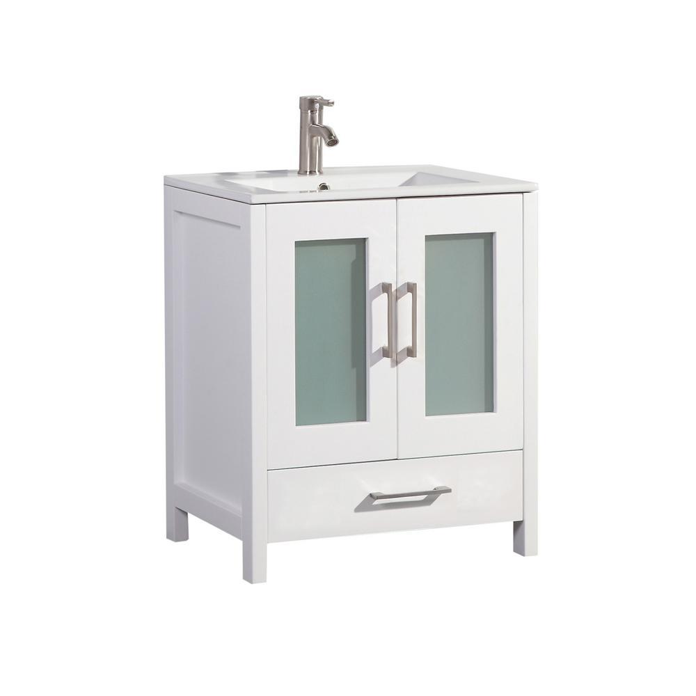 Arezzo 24 in. W x 18 in. D x 36 in. H Vanity in White with Porcelain Vanity Top in White with White Basin