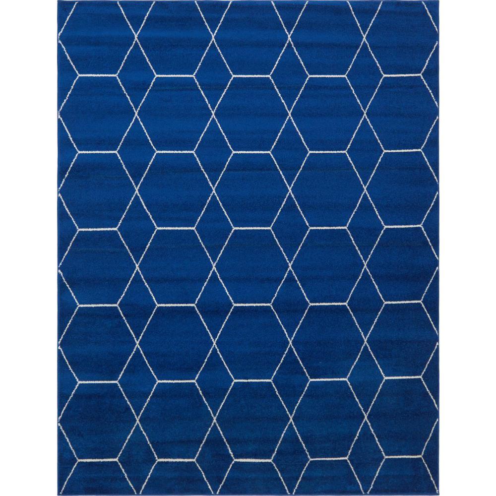 Trellis Frieze Navy/Ivory Blue 8 ft. x 10 ft. Geometric Area Rug