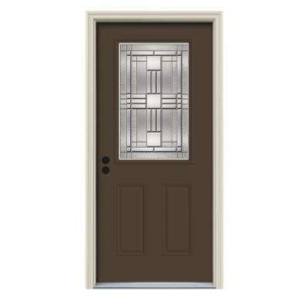 36 in. x 80 in. 1/2 Lite Cordova Dark Chocolate Painted Steel Prehung Right-Hand Inswing Front Door w/Brickmould