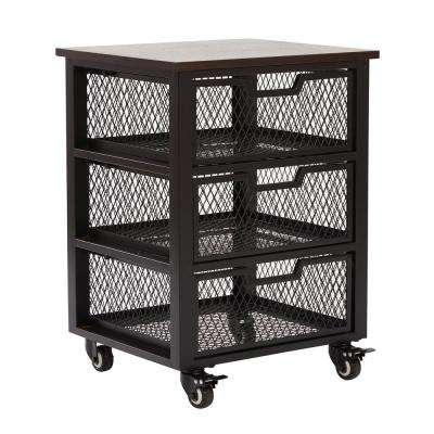 Garret Espresso Wood Top and Black 3-Drawer Rolling Cart