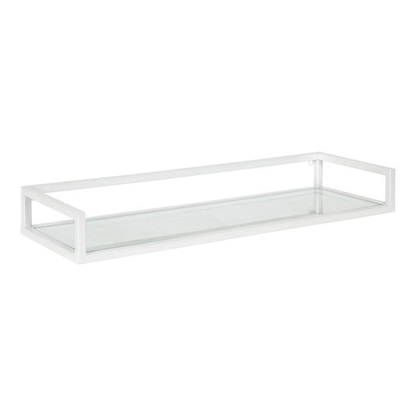 Blex 8 in. x 24 in. x 3 in. White Metal Floating Decorative Wall Shelf Without Brackets