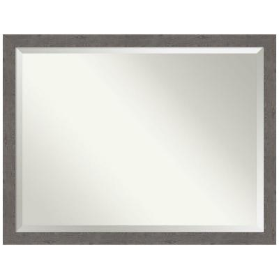 Medium Rectangle Distressed Grey Beveled Glass Modern Mirror (33.25 in. H x 43.25 in. W)