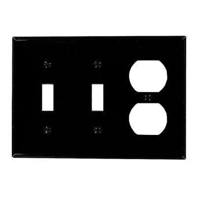 3-Gang Standard Size 2-Toggles 1-Duplex Receptacle Nylon Combination Wall Plate, Black
