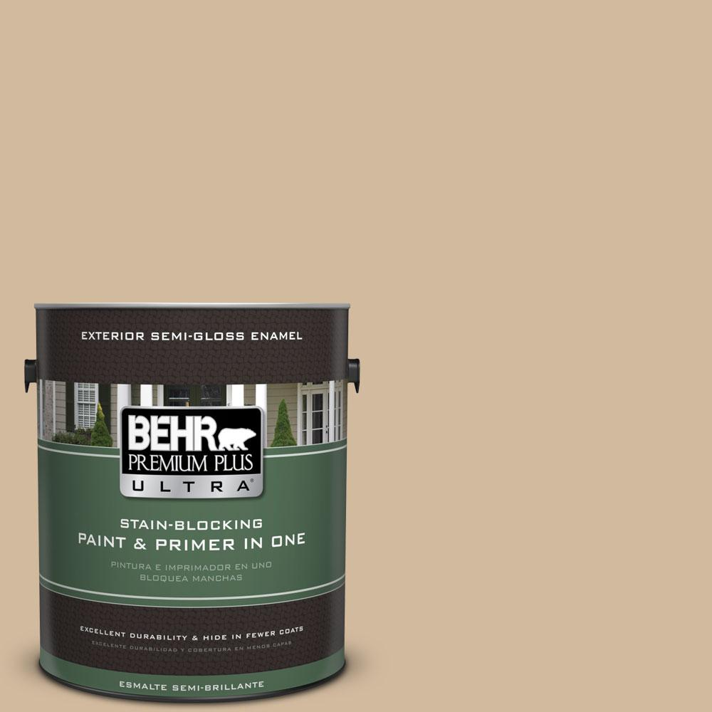 BEHR Premium Plus Ultra 1-gal. #S280-3 Practical Tan Semi-Gloss Enamel Exterior Paint