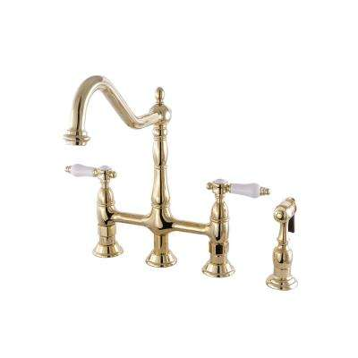 Victorian Porcelain 2-Handle Bridge Kitchen Faucet with Side Sprayer in Polished Brass