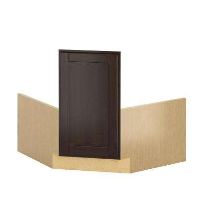 Princeton Shaker Ready to Assemble 36x34.5x36 in. Corner Sink Base Cabinet in Java