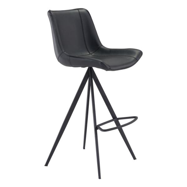 Aki 42.1 in. Black Bar Chair (Set of 2)