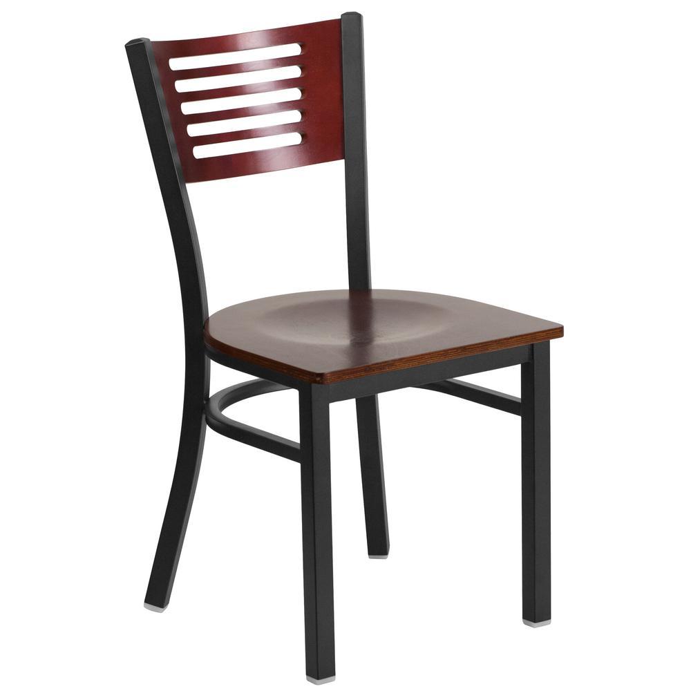 Flash Furniture Hercules Series Black Decorative Slat Back Metal Restaurant  Chair   Mahogany Wood Back And