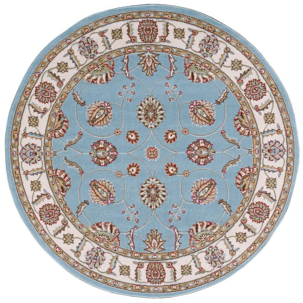 Modesto Vines Blue 5 ft. 3 in. Round Area Rug